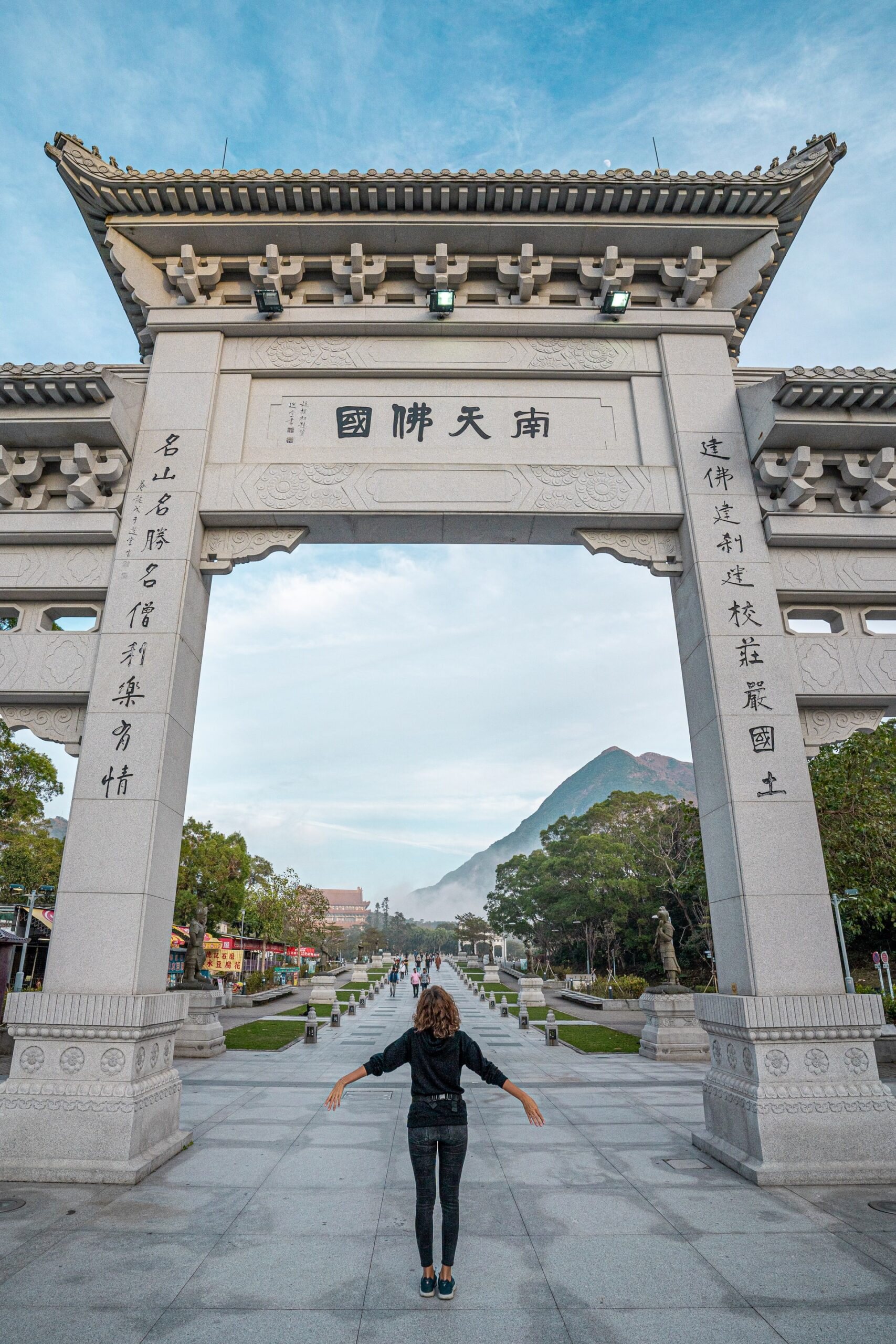 passing under the gate with mountain views in Lantau Island Hong Kong