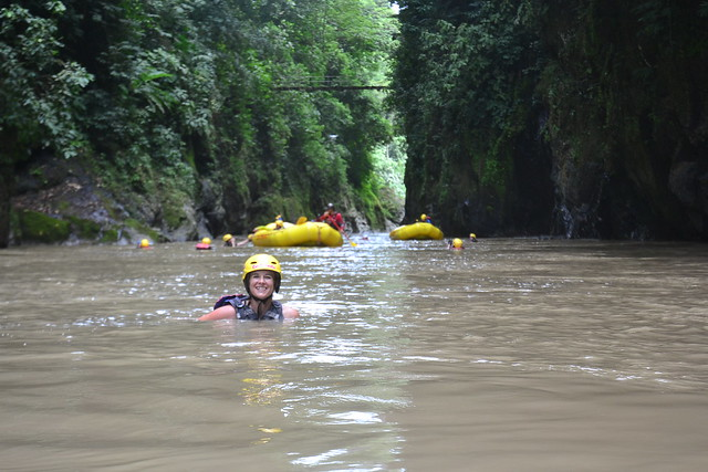 Floating in the Rio Pacuare gorge after intense Class IV rapids